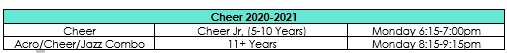 Cheer Schedule 2020-2021