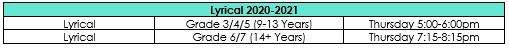 Lyrical Schedule 2020-2021