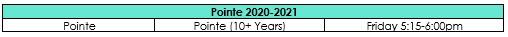 Pointe Schedule 2020-2021