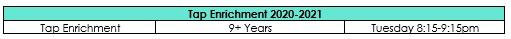 Tap Enrichment Schedule 2020-2021