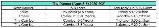 Tiny Dancers Schedule 2020-2021
